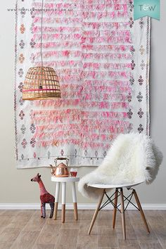 Hang Rug on Wall: Sew Loop Side of velcro to back, then attach adhesive hook side to wall!