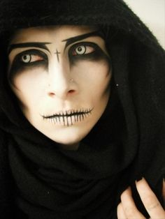 I may have to be the Angel of Death for Halloween instead of Frida Kahlo. The sk… I may have to be the Angel of Death for Halloween instead of Frida Kahlo. The skin tone is certainly more appropriate for me… Cool Halloween Makeup, Scary Halloween, Dragon Halloween, Spooky Scary, Halloween Contacts, Halloween Painting, Halloween Vampire, Halloween Ideas For Men, Costume Makeup