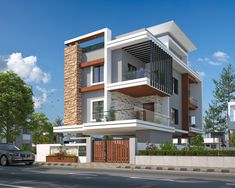 New apartment building elevation beautiful 40 Ideas Modern Bungalow Exterior, Modern Exterior House Designs, Modern Bungalow House, Modern Villa Design, Modern Architecture House, Amazing Architecture, Exterior Design, 3 Storey House Design, Bungalow House Design