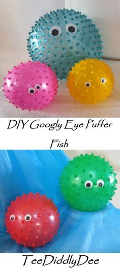 DIY Googly Eye Puffer Fish Ok so out of ALL of my 'Under the Sea' Party ideas, these little googly eyed puffer fish are definitely the fastest and EASIEST to make (and they turned out pretty cute if I do say so myself!) I LOVE LOVE LOVE new members! Mermaid Theme Birthday, Little Mermaid Birthday, Little Mermaid Parties, Underwater Birthday, Underwater Theme Party, Under The Sea Decorations, Ocean Party Decorations, Mermaid Birthday Party Decorations Diy, Mermaid Party Games