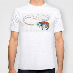 Colorful Shrimp Art by Sharon Cummings T-shirt by Sharon Cummings - $22.00