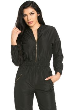 myyuccie - Top Gun Flight Bomber Jumpsuit in Black Couture Looks, Androgynous Fashion, Black Jumpsuit, Tulum, Rompers, One Piece, Long Sleeve, Top Gun, Casual