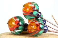 Lampwork glass bead headpins handmade by Lori by LoriLochner