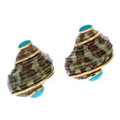 I have always loved these earrings! SEAMAN SCHEPPS Turquoise Shell Yellow Gold Earrings