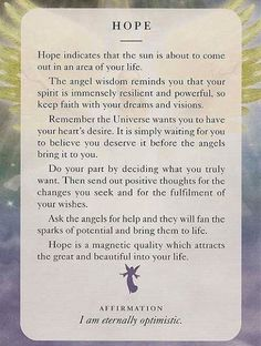 "Today's Angel Card ""Hope"" ♥ 