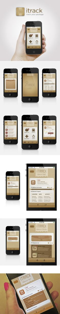Itrack Iphone App by Annie JQ Liu, via Behance *** Itrack is app that people can track their all package anytime and any places, so they always know when they're going to arrive and where they are recently. the app also provides useful tools such as scan and print.
