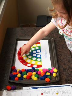 Rainy Day Fun - Printable pompom craft sheets, coloful pompoms and magnets make…