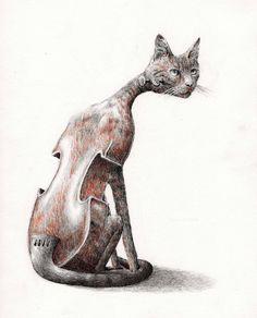 Animal Music series  -  kat viool  2009  - Redmer Hoekstra