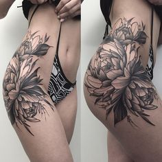 side thigh flower tattoo