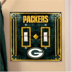Green Bay Packers Light Switch Double Art Glass Cover