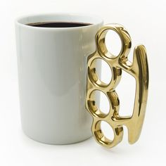 Thabto Knuckle Duster Mug, White/Gold | ACHICA