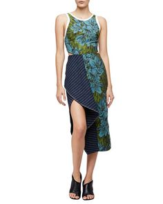 Sleeveless+Floral+Dress+w/+Striped+Trim,+Leaf/Hydro+by+3.1+Phillip+Lim+at+Neiman+Marcus.