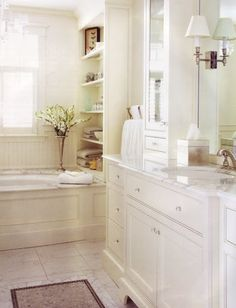 Carrara Marble in Master Bath - pros and cons? Carrara Marble in Bad Inspiration, Bathroom Inspiration, Dream Bathrooms, Beautiful Bathrooms, White Bathrooms, Beautiful Kitchen, Style At Home, Bathroom Built Ins, Bathroom Storage