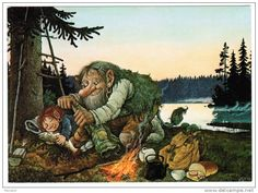 A nice troll keeping his little one warm during a fishing trip. Awww. (Artist: Rolf Lidberg.)