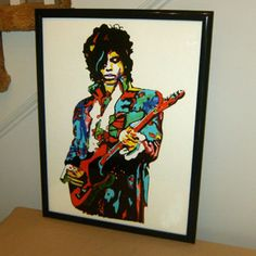 Prince, The Revolution, Purple Rain, Guitar, Rock Guitarist -TOP Abstract oil painting-100% handpainted 36 inch