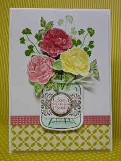 mixing flowers stamp with mason  jar set