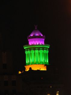 The Cupola atop the Hibernia Bank Building in Mardi Gras colors.