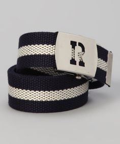Navy and Natural Initial Personalized Belt Boys by babybottomsup