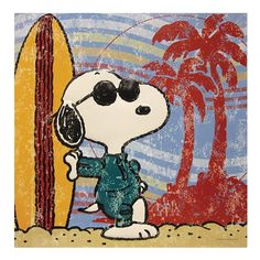 NEW SNOOPY Collectible Embossed Tin Art, Surf's Up Embossed Tin Art, 13 by 13""