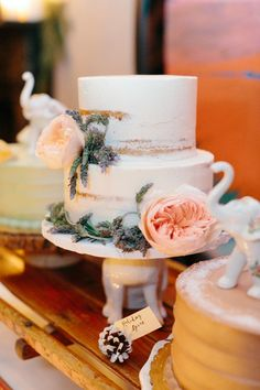 Naked Wedding Cake with Pink Garden Roses and Lavender