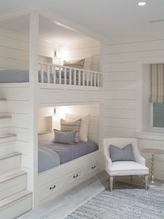 Sophie Metz Design. built in bunk beds with staircase. bedroom. kids room. home decor and interior decorating ideas.