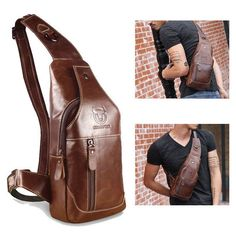 Homens couro genuíno Business Casuais marrom ombro Crossbody Bag - R$127.73