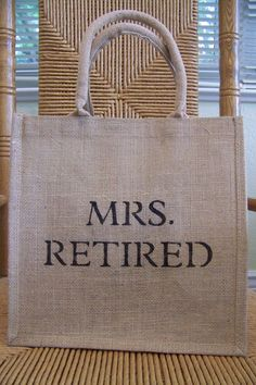 Mrs. Retired Tote bag Burlap tote by KelleysCollections on Etsy