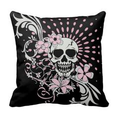 Shop Vintage Skull Throw Pillow created by bonesofsociety. Skull Pillow, Gothic Furniture, Gothic Home Decor, Gothic House, Custom Pillows, Vintage Shops, Your Design, Homes, Throw Pillows