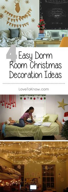 Nothing tugs on the heartstrings quite like the holidays and there is no better time to glam up your dorm room with cheerful Christmas décor. Show off your artistic creativity by making some of the décor yourself or with the help of your dorm mate. | 4 Easy Dorm Room Christmas Decoration Ideas from #LoveToKnow