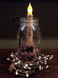 Love this! My first DIY. All you need is a Mason Jar, Primitive Battery Candle, Primitive Berry and Star Garland, Wrought Iron Candle Holder and Cinnamon Bun Botanicals. ~ ( Please allow me to congratulate you on such a sweet Idea. I think that I may actually attempt it now....fingers crossed but I shall uncross them when I am about to begin. :)
