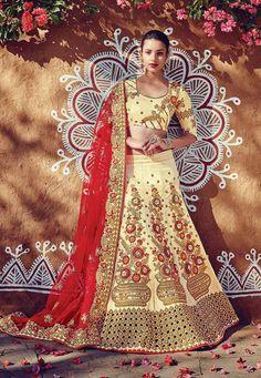 Beige & Red Traditional Bridalwear Punjabi Style Lehenga Choli