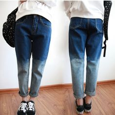 Gradient blue boyfriend style leisure blue jeans Size:s;m;l;xl Please check the pictures about the size 19747545805 Buy two items,you will get a vintage demon eyes ring for free. http://www.storenvy.com/products/1700189-vintage-demon-eyes-ring. Buy three items above,you will get a cat ears f...