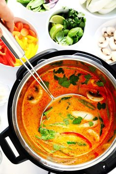 This Thai Curry Hot Pot recipe is so easy to make.and so delicious! It's naturally vegetarian vegan and gluten-free (although you can add chicken pork shrimp or beef if you'd like). It's made with tons of vegetables and a rich coconut curry broth. Curry Recipes, Asian Recipes, Soup Recipes, Vegetarian Recipes, Healthy Recipes, Thai Recipes, Hot Pot Recipes, Diabetic Recipes, Dinner Recipes