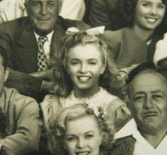 "Marilyn Monroe with cast members on the set of ""Scudda-Hoo! Scudda-Hay!"", 1947. ( I look at a photo like this and think,"" I bet no one in the photo that day imagined that they were taking a photo w/ arguably the biggest movie star that would ever live!"""