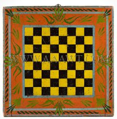 Antique Game Board, Checker Board, 19th Century, Seven Paint Colors. For the advanced collector...spectacular painted board of bread-board construction; the back with superb patina. As depicted, fanciful borders and flourishes akin to ornamentation found on American painted tin. Fine untouched original condition. (19.75 x 19.5 x 1 inches.)