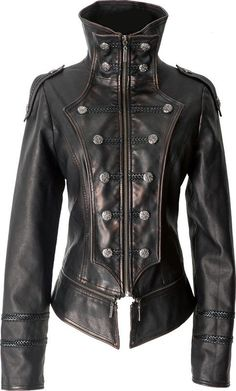 id like this in soft jetblack leather though. Gothic leather-look uniform jacket by Punk Rave Moda Steampunk, Style Steampunk, Steampunk Jacket, Gothic Steampunk, Mode Sombre, Moda Fashion, Womens Fashion, Gothic Coat, Leder Outfits