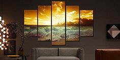 Amazon.com: Beautiful Large Size Sunset Beach Painting Modern Landscape Seascape 5 Piece Painting on Canvas Wall Art Posters and Prints Pictures for Living Room Home Decor Stretched Ready to Hang Yellow (40Wx60L): Oil Paintings