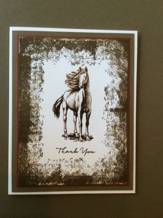 2016 Stampin Up stamp set Timeless Textures & cardstock Soft Suede; Hero Arts stamp set Horses: sentiment is Stampin Up What I Love