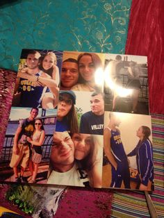 Modge podge pictures onto a chip board for a cute anniversary photo collage!