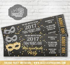 Printable Glitter Masquerade New Years Eve Party Chalkboard Ticket Invitation