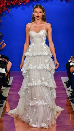 Strapless tiered wedding dress by Theia with floral details Wedding Dress Accessories, Fall Wedding Dresses, Fall Dresses, Wedding Gowns, Boho Wedding, Theia Bridal, Bridal Gowns, Ball Skirt, Tulle Ball Gown