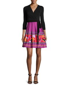 TBDRS Diane von Furstenberg 3/4-Sleeve Combo Wrap Dress, Black Floral Beet