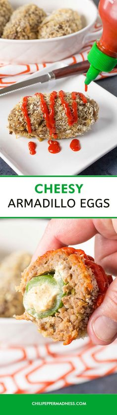 Cheesy Armadillo Eggs - Essentially cheese filled jalapeno poppers wrapped with Italian Sausage, this recipe is sure to be a crowd pleaser. Stuff jalapeno peppers with cream cheese and seasonings, surround them with spicy Italian sausage and cook them up. Watch them disappear.