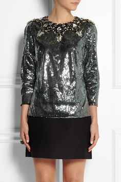 Dolce & Gabbana|Embellished sequined crepe top encrusted with clear, black and gray crystals and black sequins|NET-A-PORTER.COM
