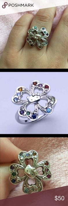 Official Sanrio Hello Kitty Ring. Sterling Silver All 12 Birthstones Studded Sterling Silver Fortune Four-Leaf-Clover Jewel Ring Planned, Sold & Made only in JapanFrom January to December, this Hello Kitty clover jewel ring luxuriously has all birthstones. each stone has a specific miracle power and brings you good luck all the time. And the four leaf clover is a symbol of fortune, this also gives you happy chances in your daily life! Garnet, Amethyst, Aqua Marine, Diamond, Emerald, Moon…