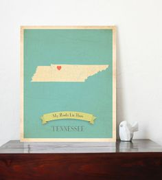 Tennessee Roots Map 11x14 Customized Print by MyRoots on Etsy, $30.00
