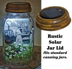 Use our Rustic LED Solar Light Lid on a standard canning jar to create a Memory Jar!