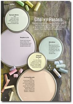 2013 Chalky Pastel Color Trends; like raspberry ice for the master bedroom Tip: grab a white paint chip and a gray one and put the pastel chip you're considering against them. If it leans toward the white, the pastel most likely will be too sweet. Stick with pastels that have gray undertones. Another lavender to try: Painted Lady Lavender by Dutch Boy.