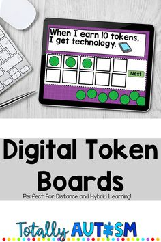 These digital token boards are perfect for special education distance learning or hybrid learning!  Students can use a 3, 5, or 10 piece digital token board during online meetings. Kindergarten Classroom Management, Elementary School Counseling, Classroom Ideas, Behavior Incentives, Student Behavior, Behavior Interventionist, Teaching Autistic Children, Sensory Activities For Autism, Special Needs Teaching
