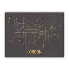 London Lineposter Screen Print Dark Gray/Mustard by LinePosters